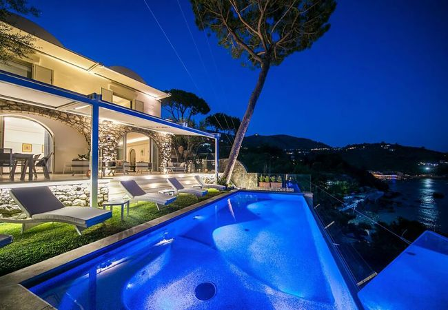Villa/Dettached house in Nerano - Luxury Villa Ibiscus 1 with Infinity Private Pool, Sea View, Over the Sea, Parking, Breakfast