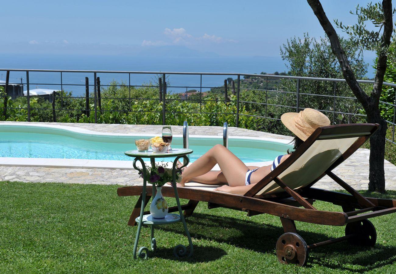 Villa in Sant´Agata sui Due Golfi - Casa Nando with private Pool, Garden, Terrace and Sea View