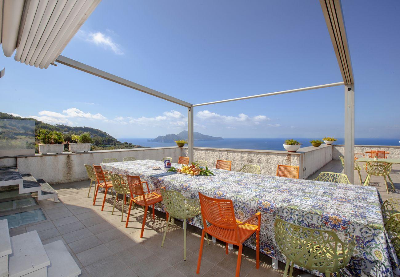 Villa in Massa Lubrense - AMORE RENTALS - Villa Elia with Private Pool, Sea View, Terraces, Parking and Garden